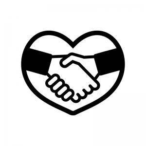 ハートと握手の白黒シルエットイラスト