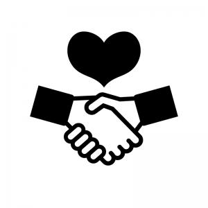 ハートと握手の白黒シルエットイラスト02