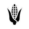 トウモロコシの白黒シルエットイラスト