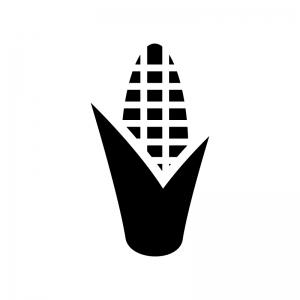 トウモロコシの白黒シルエットイラスト02