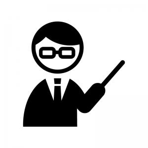 教師・先生の白黒シルエットイラスト02