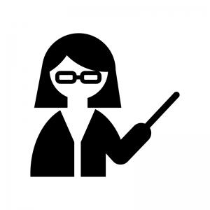 女性教師・先生の白黒シルエットイラスト
