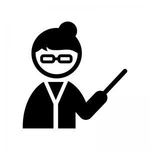 女性教師・先生の白黒シルエットイラスト02