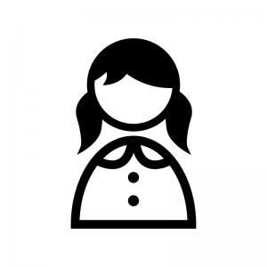 女性の白黒シルエットイラスト05