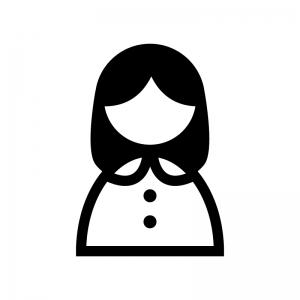 女性の白黒シルエットイラスト06