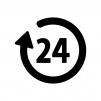 24時間マークの白黒シルエットイラスト02