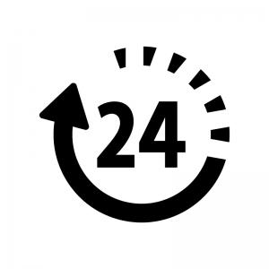 24時間マークの白黒シルエットイラスト03