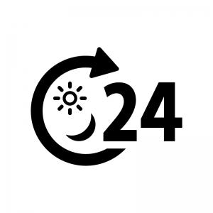 24時間マークの白黒シルエットイラスト04