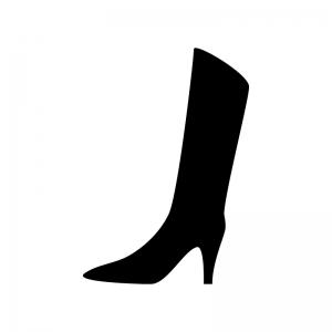 ロングブーツの白黒シルエットイラスト