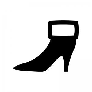 ショートブーツの白黒シルエットイラスト