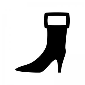ミドルブーツの白黒シルエットイラスト