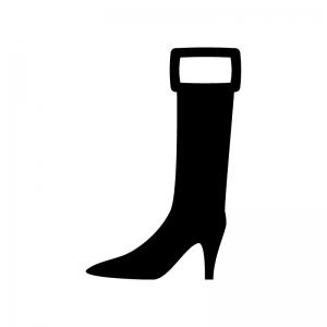 ロングブーツの白黒シルエットイラスト03