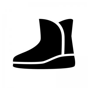 ムートンブーツの白黒シルエットイラスト