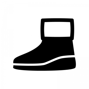 ムートンブーツの白黒シルエットイラスト02
