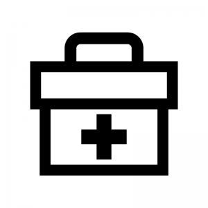 救急箱の白黒シルエットイラスト03