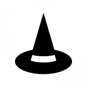 ハロウィン・魔女の帽子の白黒シルエットイラスト