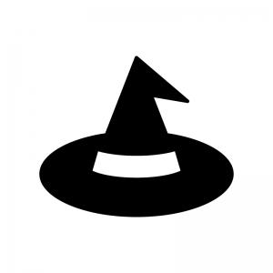 ハロウィン・魔女の帽子の白黒シルエットイラスト02