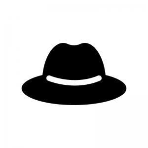 帽子の白黒シルエットイラスト02