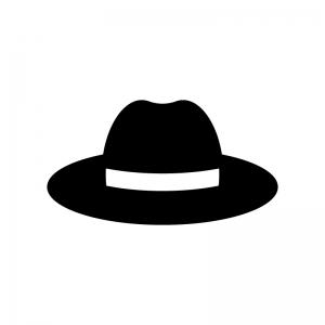 帽子の白黒シルエットイラスト03