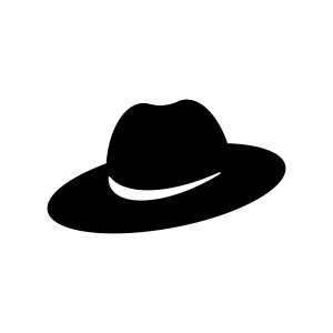 帽子の白黒シルエットイラスト04