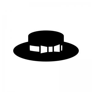 リボン付き帽子の白黒シルエットイラスト