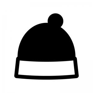 ニット帽の白黒シルエットイラスト