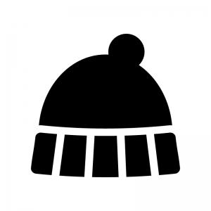 ニット帽の白黒シルエットイラスト02