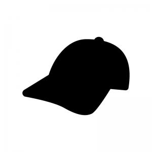 野球帽の白黒シルエットイラスト