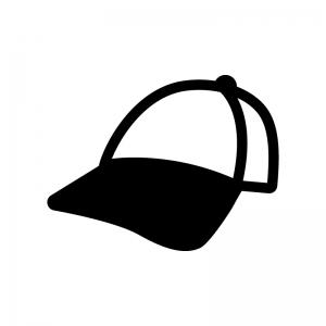 野球帽の白黒シルエットイラスト02