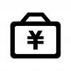 円マークとアタッシュケースの白黒シルエットイラスト