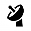 パラボラアンテナの白黒シルエットイラスト