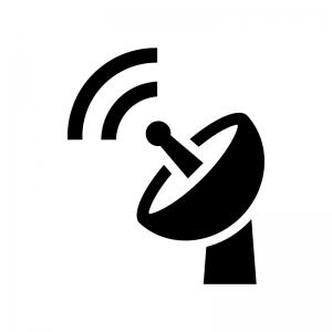 電波とパラボラアンテナの白黒シルエットイラスト