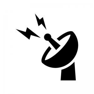 電波とパラボラアンテナの白黒シルエットイラスト02