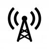 電波・アンテナの白黒シルエットイラスト