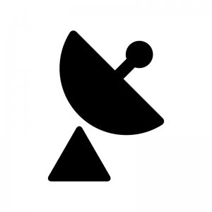 パラボラアンテナの白黒シルエットイラスト02
