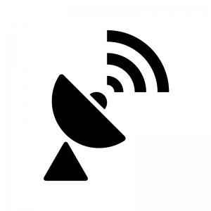 電波とパラボラアンテナの白黒シルエットイラスト03