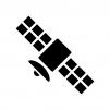 人工衛星の白黒シルエットイラスト
