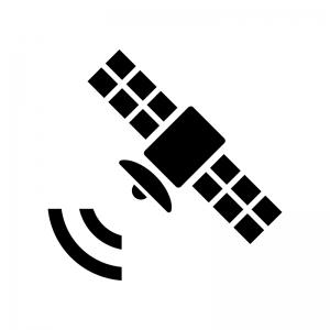 電波と人工衛星の白黒シルエットイラスト