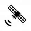 電波と人工衛星の白黒シルエットイラスト02
