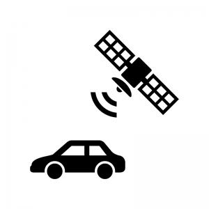 自動車のGPS機能の白黒シルエットイラスト
