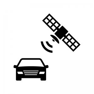 自動車のGPS機能の白黒シルエットイラスト02