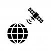 地球と人工衛星の白黒シルエットイラスト