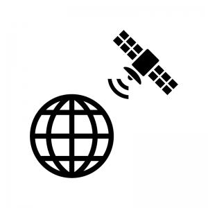 地球と人工衛星の白黒シルエットイラスト02