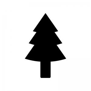杉の木の白黒シルエットイラスト