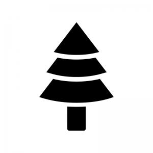 杉の木の白黒シルエットイラスト02