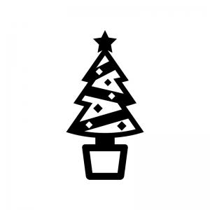 クリスマスツリーの白黒シルエットイラスト03