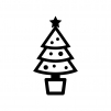 クリスマスツリーの白黒シルエットイラスト04