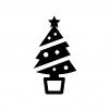 クリスマスツリーの白黒シルエットイラスト05