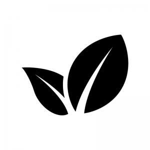 2枚の葉っぱ・植物の白黒シルエットイラスト