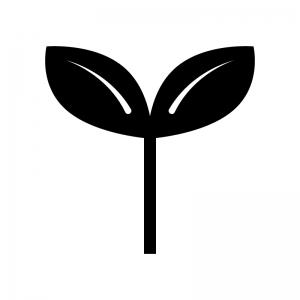 植物の芽の白黒シルエットイラスト02